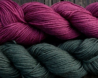 Pure wool sock yarn sport weight,  berry and hunter green, 2 skeins, 3.5 oz