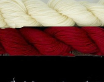 Pure wool sock yarn, sport weight ---White, red and black