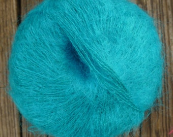 mohair and acrylc lace weight yarn, turquoise, 165 yards, 1.4 oz.