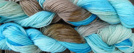 Pure wool sock yarn, sport weight --- hand dyed light blue and brown