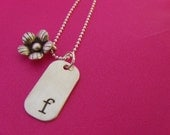 GET PERSONAL Hand Stamped Sterling Silver Dog Tag Pendant with Flower Necklace