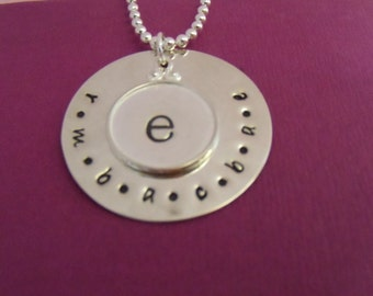 FAMILY CIRCLE Hand Stamped Sterling Silver Stacked Pendant Necklace