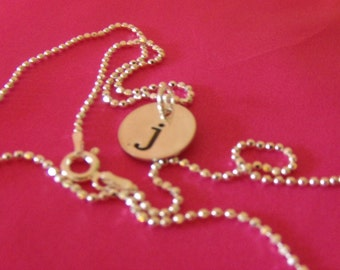 GET PERSONAL Hand Stamped Custom Personalized Single Initial Sterling Silver Pendant Necklace