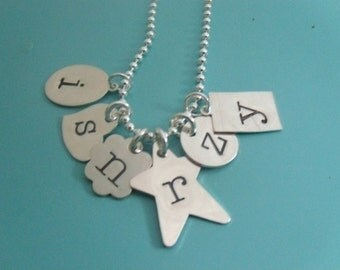 GET PERSONAL Hand Stamped Sterling Silver Necklace with Initial Pendant Clusters