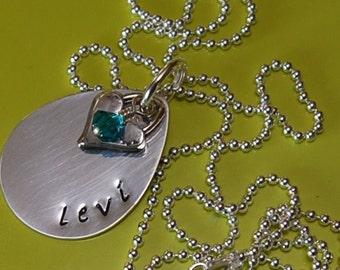 LITTLE ONE Hand Stamped Sterling Silver TEARDROP Pendant with Birthstone Crystal and Heart Charm Necklace
