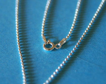 Sterling Silver Beaded Ball 1.5mm Chain Necklace