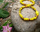Yellow beaded hoops