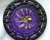 LG Czech Glass Button - Purple Reverse Painted w/ Floral Border & Gold Accents