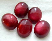 Set 5 Vintage Cranberry Lucite MOONSTONE Buttons w Metal Shanks - Oval w/ Cats Eye Effect 19mm