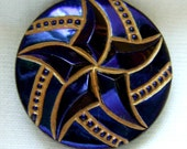 "SALE Czech Glass Button - Faceted Black Glass ""Spinning Pinwheel"" Floral Button w/ Midnight & Gold"