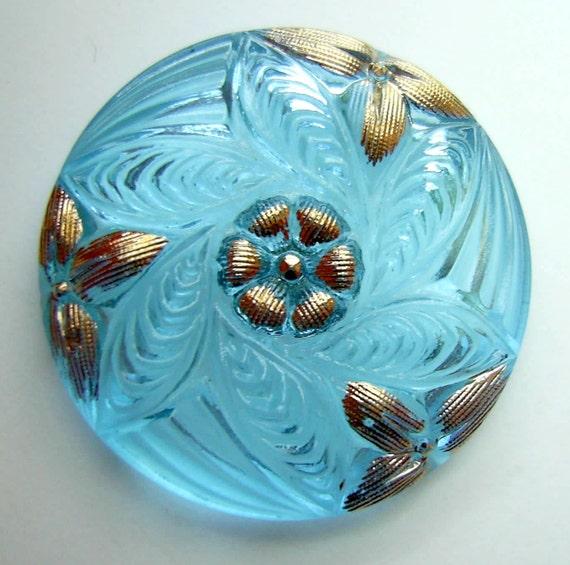 Czech Glass Button - Transparent Aqua Glass Pinwheel FLOWER w/ Gold Accents