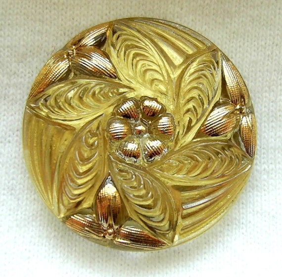 Czech Glass Button - Gold Reverse Painted Pinwheel FLOWER w/ Luster