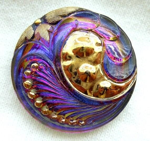 Gorgeous Czech BLUE VIOLET Mirror Glass Nouveau Style PAISLEY Button