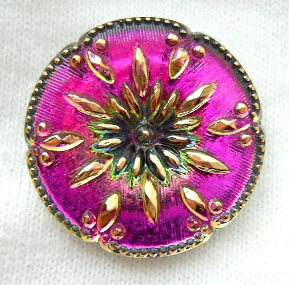 Czech Glass Button - Sweet Pink Mirror Back FLORAL w/ Gold Luster Detail