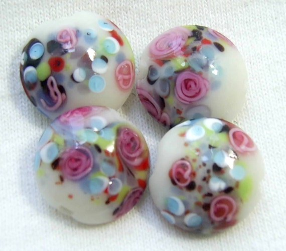 Lampwork Glass Overlay ROSE Beads - Set of 4 Colorful Lentil Beads 19mm