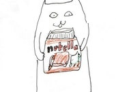 Nutella Cat Print - Funny Cat Print - Chocolate Lover - Italy