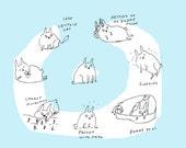 Bunny Art, Fine Art Print- Bunny's Life in blue