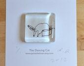 Cat In Box Glass Magnet