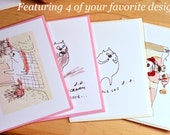 The Dancing Cat Cards- Variety pack- Set of 4
