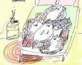 Cat Card- Sleep Pile