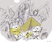 Summer Vacation- Camp Cats- Le Rustiques- Cat Print