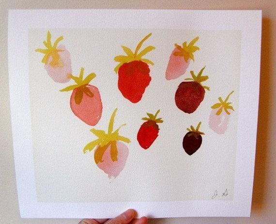 Summer Strawberries- Fruit Print - Strawberry Art - Kitchen Art