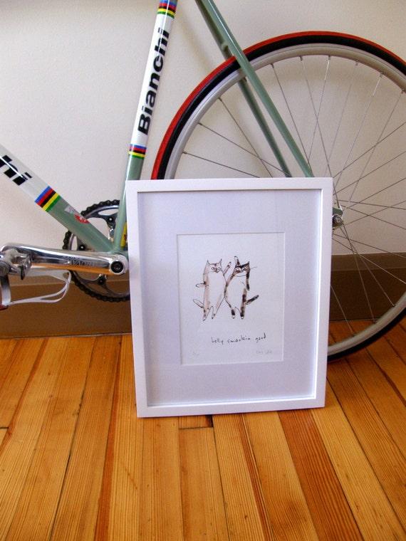 Belly Smackin Good- LARGE- Cat Art- Fine Art Print- Cat Drawing- Fat Cats- Pet Lover- Cat Artwork