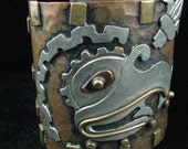 Reserved saysaccount Vintage Mexican Cuff Bracelet Bird Motif Mixed Metals