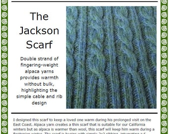 The Jackson Cable Scarf pattern (PDF)