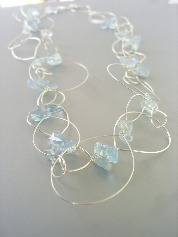 Unique Wire Jewelry - Silver Abstract Wire Aquamarine Hoop Necklace