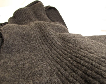 Cashmere/Silk double ribbed scarf - charcoal