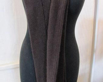 Cashmere/Silk ribbed skinny scarf - chocolate/aubergine