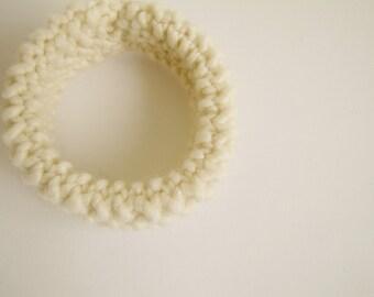 hand knitted bracelet - cream