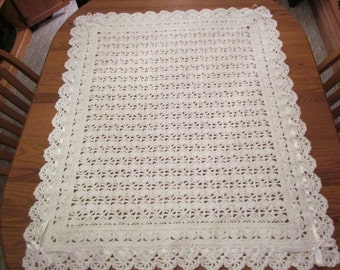 Crochet Baby Blanket White Christening Blanket Heirloom Lace Victorian Style Blanket with Ribbon Trim - Direct Checkout -  MADE TO ORDER