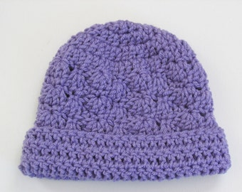Crochet Infant Hat Lavender Infant Beanie Hat  with Rolled Brim 3-6 Months - Ready to Ship - Direct Checkout