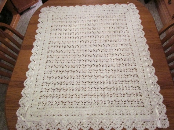White Baby Blanket Crochet Christening Afghan Heirloom Lace