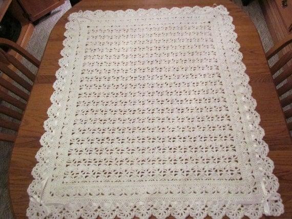 Crochet Pattern For Christening Blanket : White Baby Blanket Crochet Christening Afghan Heirloom Lace