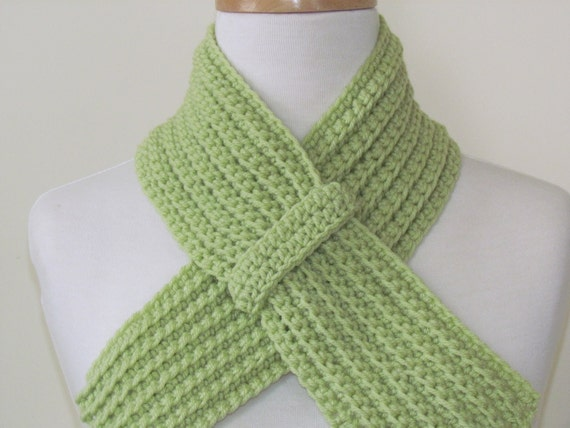 SALE HALF PRICE Green Scarflet Neckwarmer for Women - Hand Crocheted Light Green Scarf - Ready to Ship - Direct Checkout