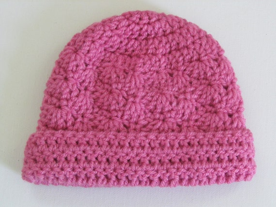 Crochet Infant Hat Pink Infant Beanie Hat with Rolled Brim Bright Pink  3-6 Months-Ready to Ship - Direct Checkout