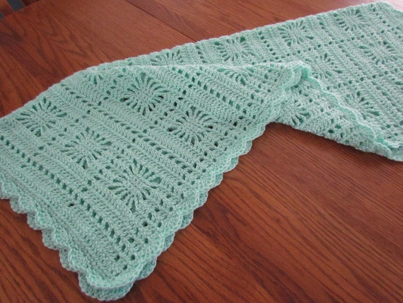 Crochet Baby Blanket Newborn Crib Afghan Car Seat Stroller Green Snowflake Scalloped Edging,Ready to Ship,Direct Checkout
