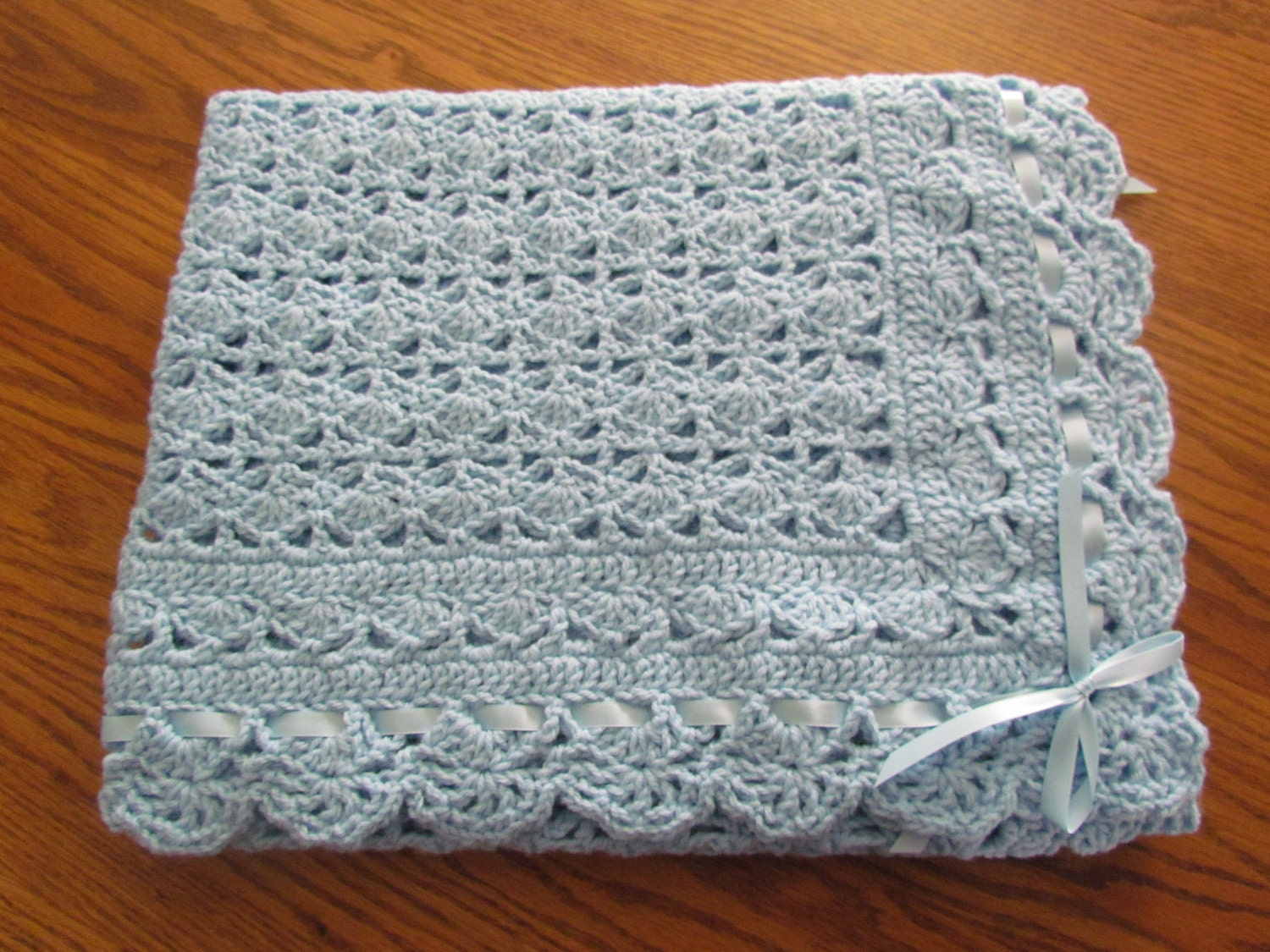 Blue Baby Afghan Christening Crochet Crib Size Heirloom Lace