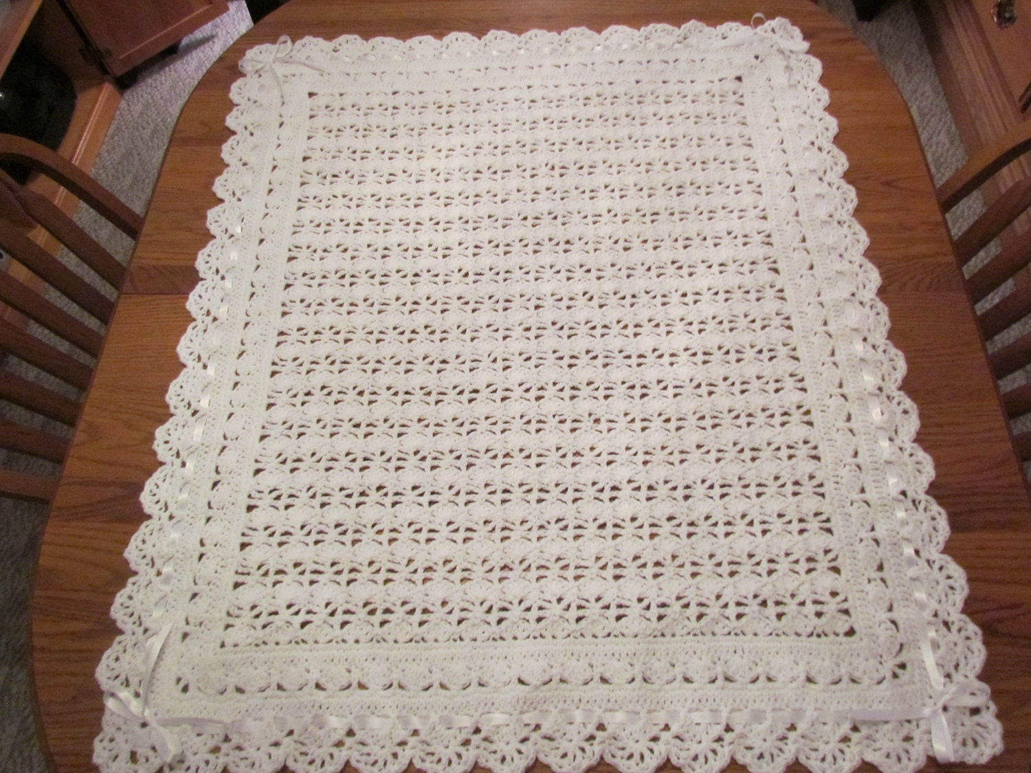 Crochet Baby Blanket White Christening Blanket Heirloom Lace