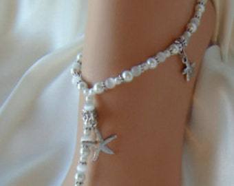 Starfish Beach, Barefoot Sandals, Bridal Jewelry, Foot Jewelry, Beach Bride, Bridesmaids, Wedding Sandals. FREE SHIPPING Made in all Colors!