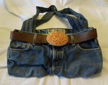 American Eagle Upcycled Jeans Purse - Recycled Denim Handbag with cotton lining & belt