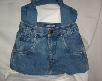 Cherokee Upcycled Jeans Purse - Recycled Denim Handbag with cotton lining