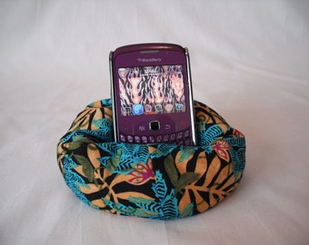 Cell Phone Bean Bag Chair or Kindle Kouch (eReader Rest) Tropical Teal, Black and Gold