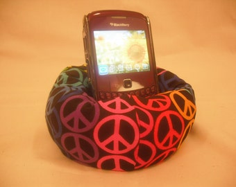 Cell Phone Bean Bag Chair or Kindle Kouch (eReader Rest) Rainbow Peace Signs on Black
