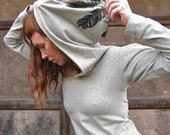 Dusk Hoodie Feather print Heather Grey - Jersey stretch - ready to ship