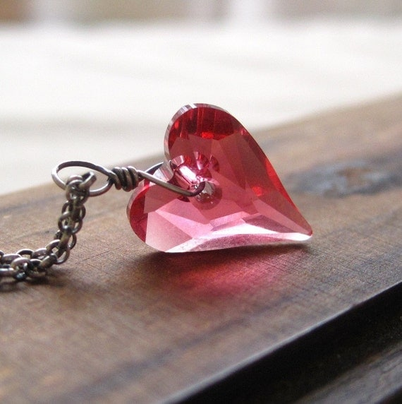 Valentine Necklace Swarovski Crystal Wild Heart Pink Sterling Silver
