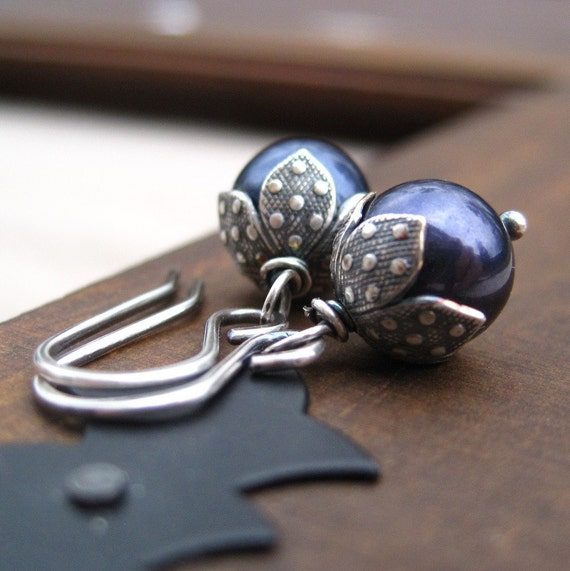 Navy Blue Pearl Jewelry Swarovski Earrings Sterling Silver Midnight Free Shipping